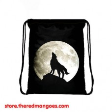 Drawstring Bag Full Moon Wolf