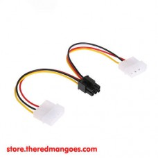 Cable Molex Dual to 6 Pin VGA Graphics Card Power Adapter