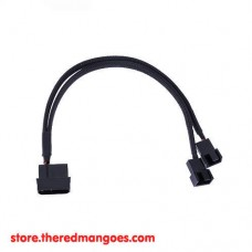 Cable Molex To 3 / 4 pin Fan Sleeved 2 Port For PC Fan