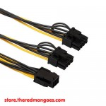 Cable PCI-E PCI Express 6 Pin Female To 8 Pin (6+2 Pin) Male Dual