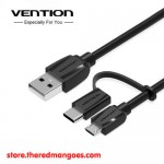 Vention CABBG / CAB Cable USB 2.0 To Micro USB With USB Type-C Adapter 1.5m