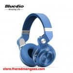 Bluedio T2+ Headset Bluetooth With Micro SD Slot and FM Radio Blue